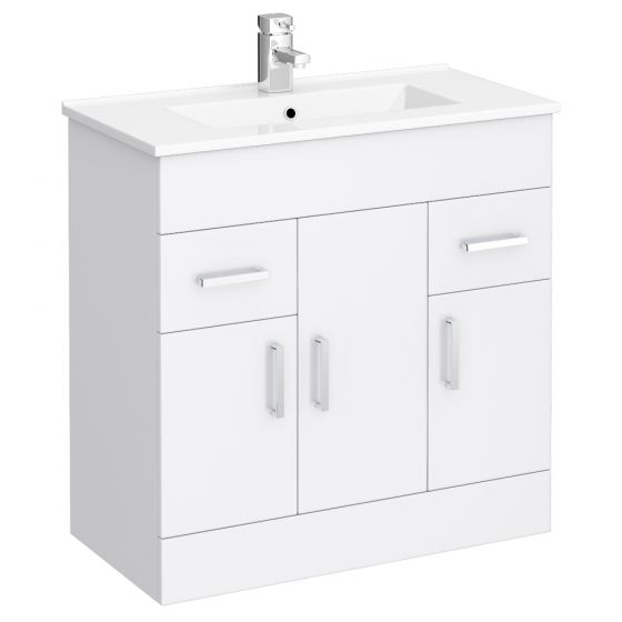 Turin Vanity Sink With Cabinet - 800mm Modern High Gloss White