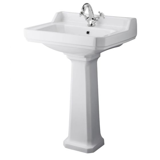 Premier - Carlton 600mm Large 1 Tap Hole Traditional Basin with Pedestal