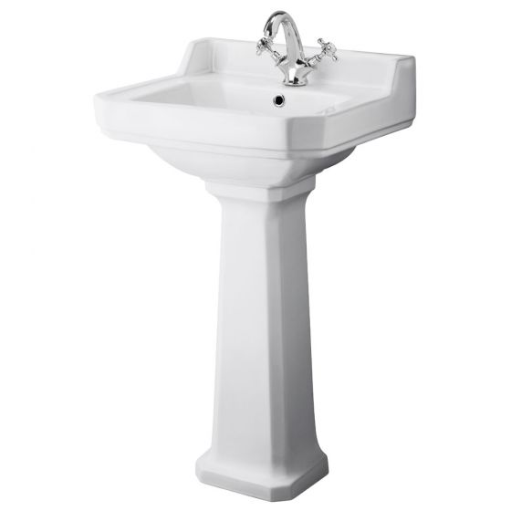 Premier - Carlton 500mm Small 1 Tap Hole Traditional Basin with Pedestal