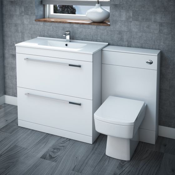Nova High Gloss White Vanity Bathroom Suite - W1300 x D400/200mm