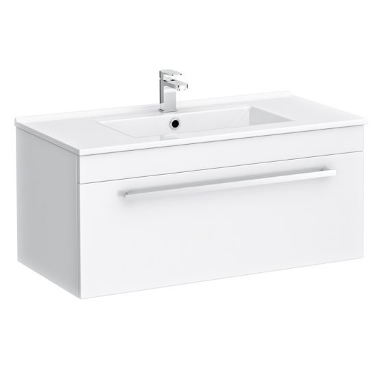 Nova Wall Hung Vanity Sink With Cabinet - 800mm Modern High Gloss White