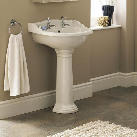Old London - Chancery Traditional 2TH Basin & Full Pedestal - Various Size Options