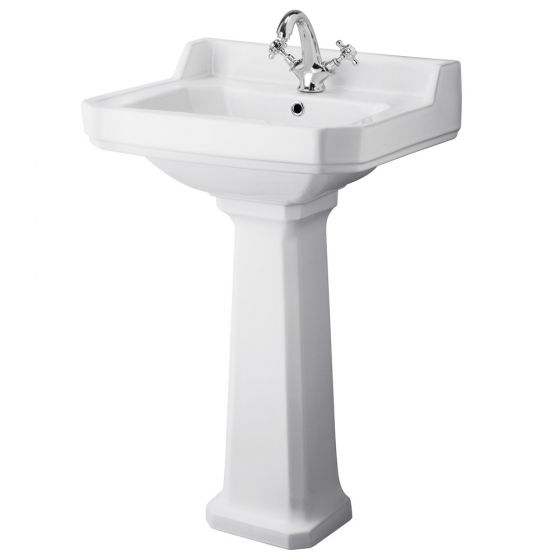 Old London - Richmond Traditional 1TH Basin & Pedestal - Various Size Options