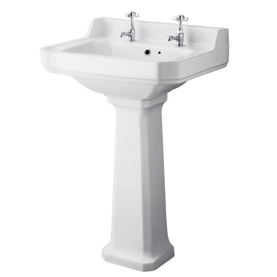 Old London - Richmond Traditional 2TH Basin & Pedestal - Various Size Options