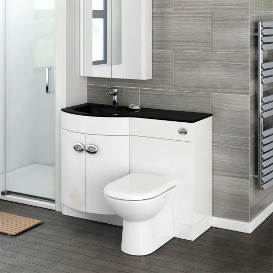Orion Black Modern Curved Combination Basin + WC Unit - 1100mm