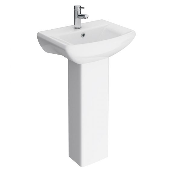 Premier Asselby Cloakroom Basin 1TH with Pedestal (500 x 375mm)