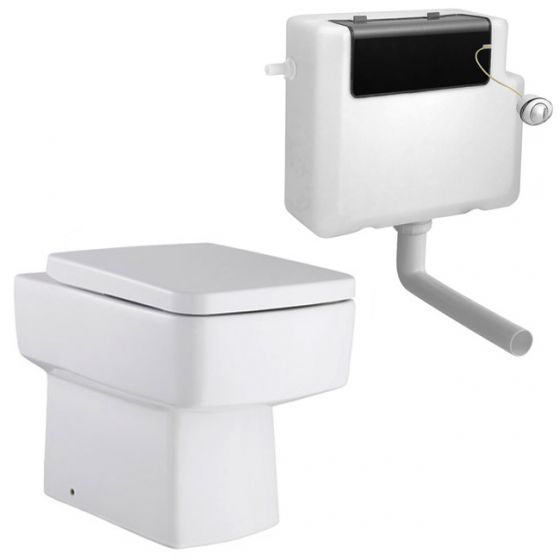 Premier - Bliss Square Back to Wall Pan with Top Fix Seat & Concealed Cistern