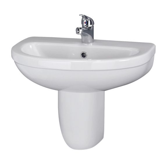 Premier Caledon 555mm Basin 1TH with Semi Pedestal