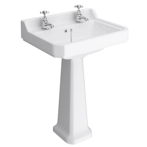 Premier Carlton 600mm Large 2 Tap Hole Traditional Basin with Pedestal