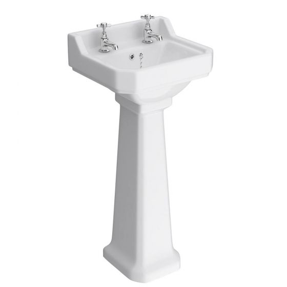 Premier Carlton 500mm Small 2 Tap Hole Traditional Basin with Pedestal