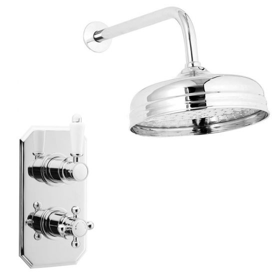 """Premier Edwardian Twin Concealed Thermostatic Shower Valve with 8"""" Apron Fixed Head"""