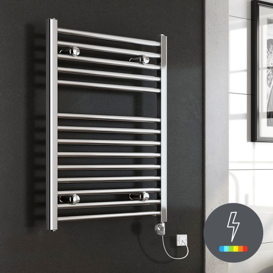 Chrome Thermostatic Electric Towel Radiator 800x600mm