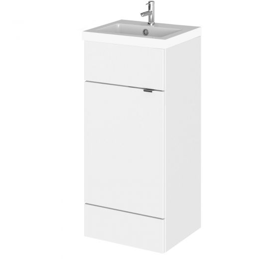 Hudson Reed Fusion Gloss White Cloakroom 400mm Vanity Unit & Basin