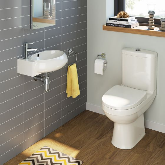 Sabrosa Toilet & Naro Basin Cloakroom Set - Right Hand