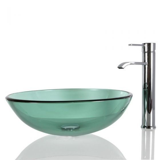 Glass Round Glass Green Countertop Sink with Free Waste