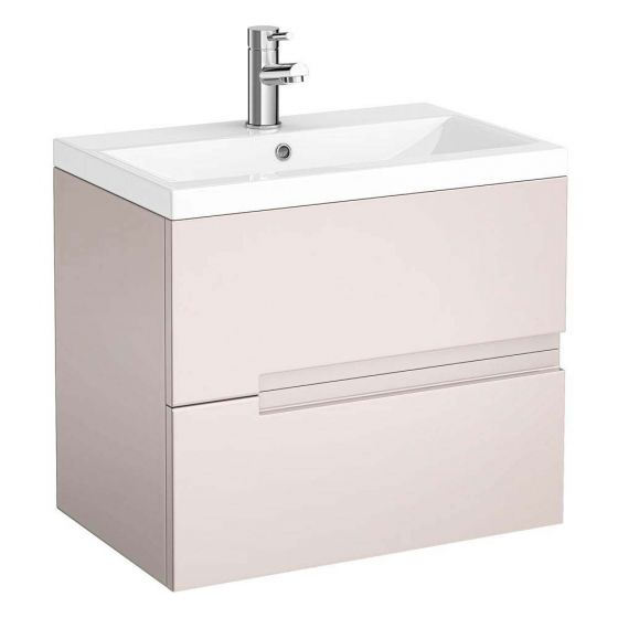 Urban Compact 600mm Wall Hung 2 Drawer Vanity Unit - Cashmere