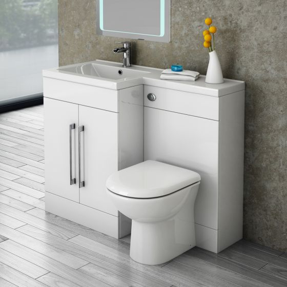 Valencia Bathroom Combination Unit with Basin & Round Toilet - 1100mm LH