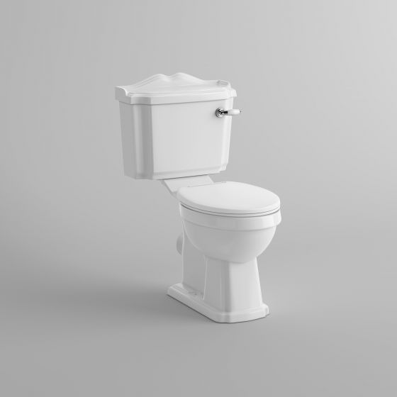 Victoria Close Coupled Toilet and Cistern - White Finish Seat