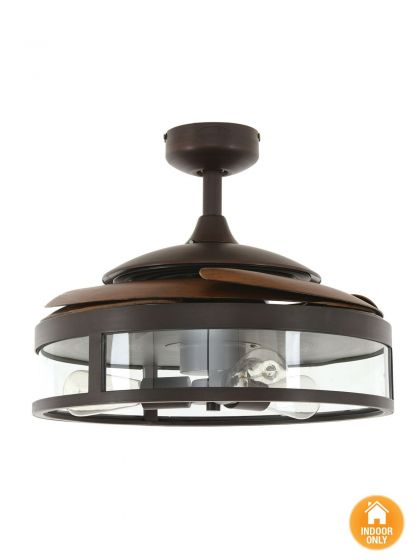 Fanaway Classic Ceiling Fan With Antique Brown Coloured Retractable Blades and Light