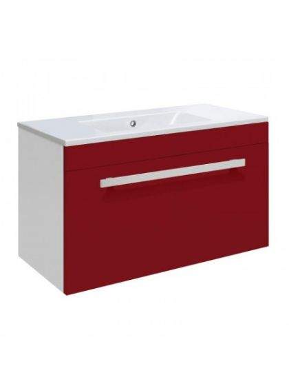 Ultra Design 600mm 1 Drawer Wall Mounted Basin & Cabinet - Gloss Red - 2 Basin Options`