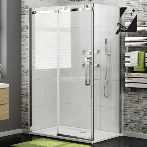 1000x800mm - 8mm - Luxe Frameless EasyClean Sliding Door Shower