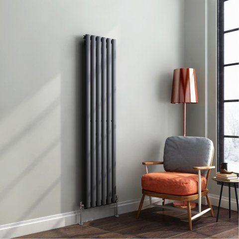 Anthracite Single Oval Tube Vertical Radiator 1600x360mm