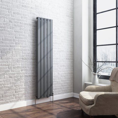 Anthracite Single Flat Panel Vertical Radiator 1600x376mm