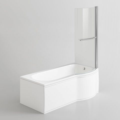 1600x850mm - Right Hand P-Shaped Bath with 6mm Screen, Rail