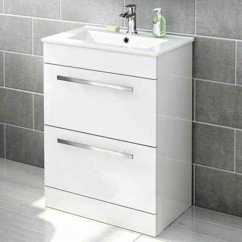 Icon Gloss White 600mm Free Standing Drawer and basin Unit