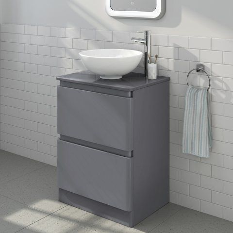 600mm Denver II Gloss GreyCountertop Unit & Basin Floor Standing