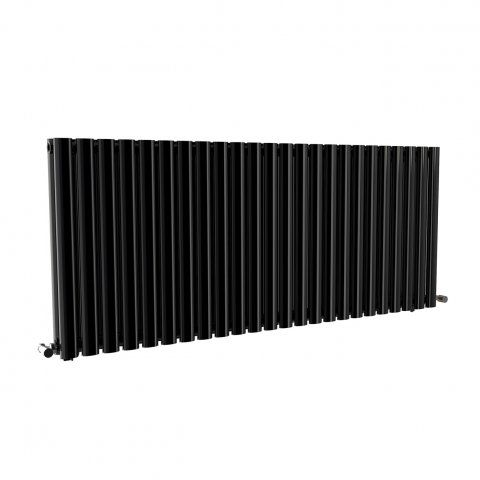 600x1440mm Gloss Black Double Panel Oval Tube HorizontalRadiator