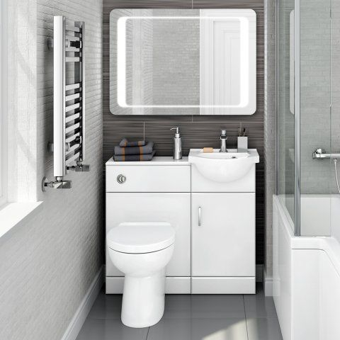 903mm Quartz Gloss White Combined Suite with Toilet & Basin - Cr