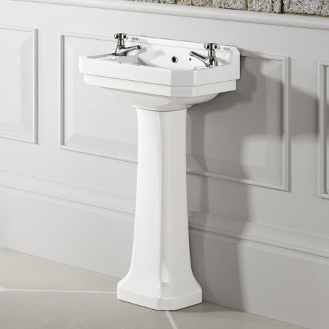 Georgia Traditional Large Basin and Pedestal - Double Tap Hole
