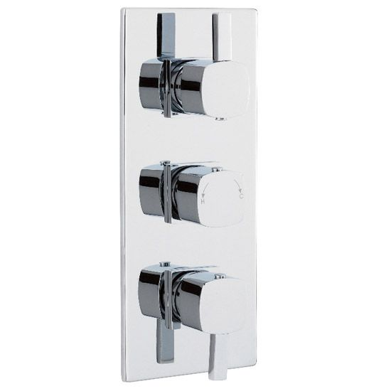 Soft Square Triple Concealed Thermostatic Shower Valve - Chrome - JTY364