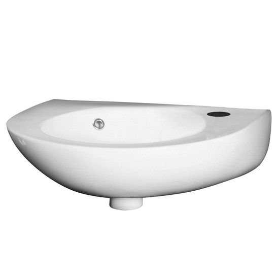 Premier - Round 350mm Wall Hung Cloakroom Basin - 1 Tap Hole - NCU932