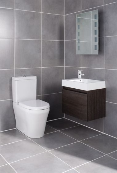 Ultra - Zone 600mm Wide Oak Finish Cabinet & Basin with BTW Close Coupled Toilet