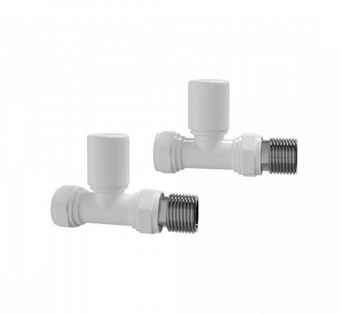 Straight Gloss White Radiator Valves - Standard 15mm Connection