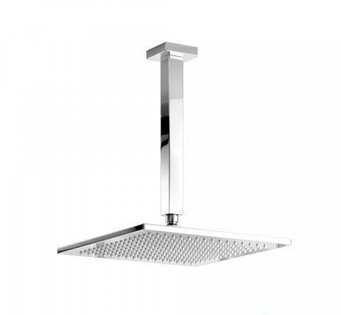 305mm Square Brass Head with 300mm Arm - Ceiling Mounted Shower