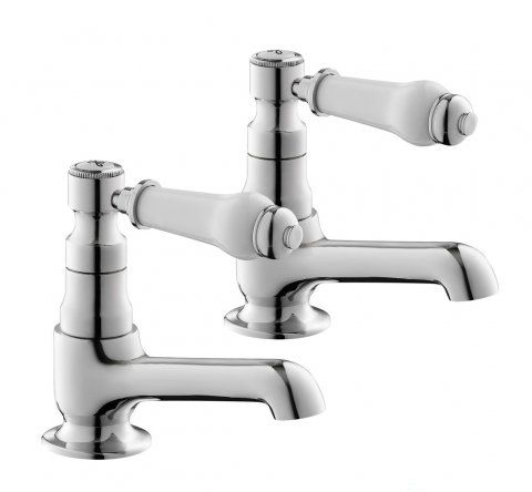 Regal Twin Hot & Cold Traditional Chrome Lever Bath Tub Taps