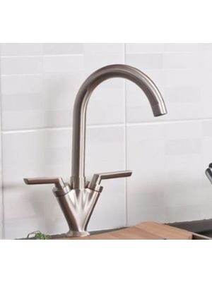 Niagra Kitchen Brushed Steel Kitchen Mixer Taps - Swivel Spout