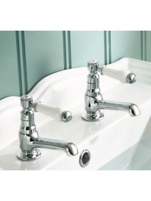 Regal Twin Hot & Cold Traditional Chrome Lever Basin Sink Taps