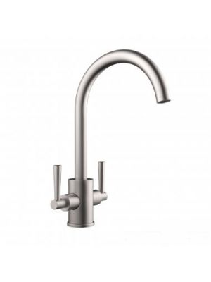 Tolmer Monobloc Brushed Steel Kitchen Mixer Taps - Swivel Spout