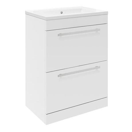 Ultra Design 600mm 2 Drawer Floor Mounted Mid-edged Basin & Cabinet - Gloss White - CAB146-BAS122