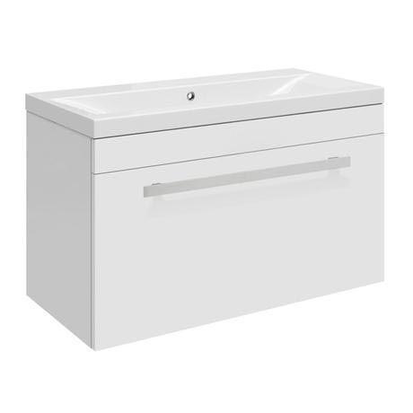 Ultra Design 600mm 1 Drawer Wall Mounted Mid-edged Basin & Cabinet - Gloss White - CAB148-BAS122