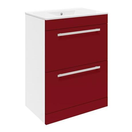 Ultra Design 600mm 2 Drawer Floor Mounted Basin & Cabinet - Gloss Red - 2 Basin Options