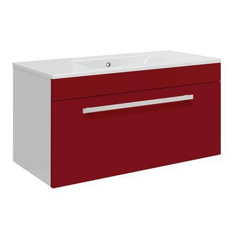 Ultra Design 800mm 1 Drawer Wall Mounted Basin & Cabinet - Gloss Red - 2 Basin Options