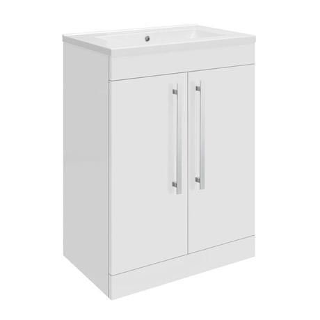 Ultra Design 600mm 2 Door Floor Mounted Mid-edged Basin & Cabinet - Gloss White - CAB330-BAS122