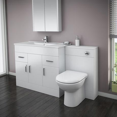 Turin High Gloss White Vanity Unit Bathroom Suite W1500 with D-shaped BTW pan