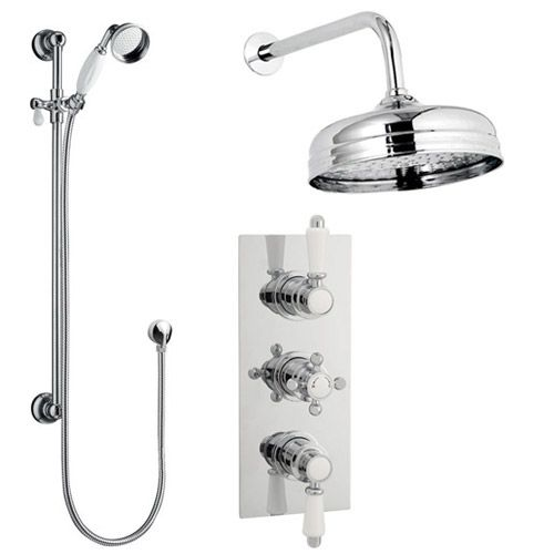 Traditional Concealed Shower Valve w/ Slide Rail Kit & Wall Mounted Fixed Head